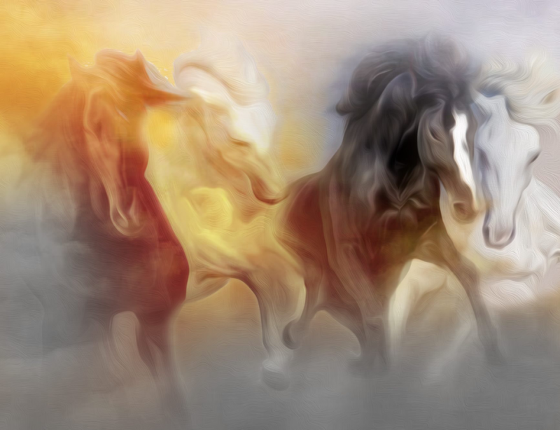 A watercolor painting of Four Horses